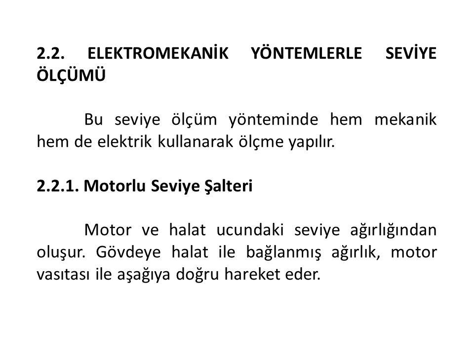 2.2. ELEKTROMEKANİK YÖNTEMLERLE SEVİYE ÖLÇÜMÜ Bu seviye ölçüm yönteminde hem mekanik hem de elektrik kullanarak ölçme yapılır. 2.2.1. Motorlu Seviye Ş
