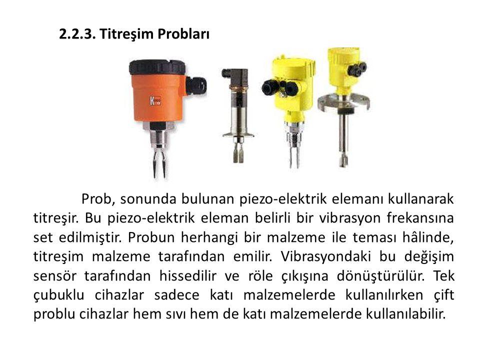 2.2.3. Titreşim Probları Prob, sonunda bulunan piezo-elektrik elemanı kullanarak titreşir. Bu piezo-elektrik eleman belirli bir vibrasyon frekansına s