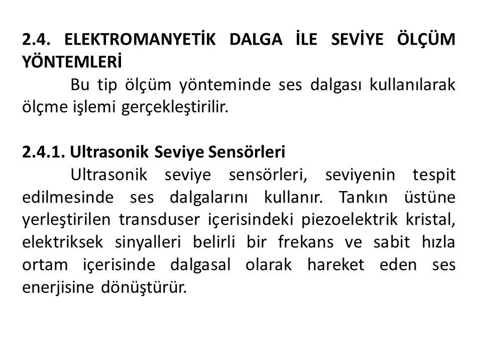 2.4. ELEKTROMANYETİK DALGA İLE SEVİYE ÖLÇÜM YÖNTEMLERİ Bu tip ölçüm yönteminde ses dalgası kullanılarak ölçme işlemi gerçekleştirilir. 2.4.1. Ultrason