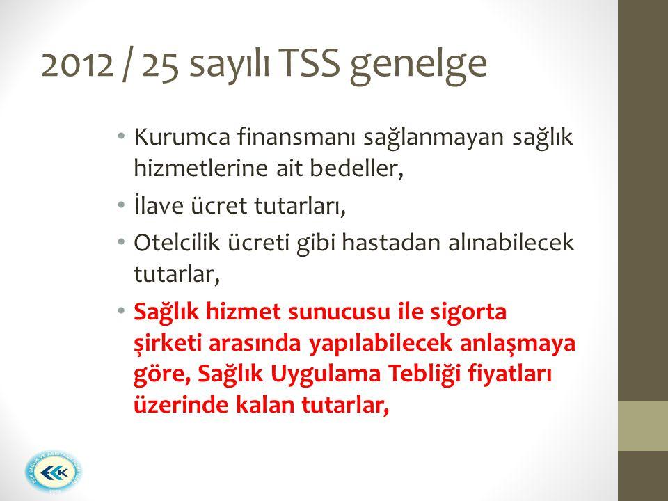 2012 / 25 sayılı TSS genelge Kurumca finansmanı sağlanmayan sağlık hizmetlerine ait bedeller, İlave ücret tutarları, Otelcilik ücreti gibi hastadan al