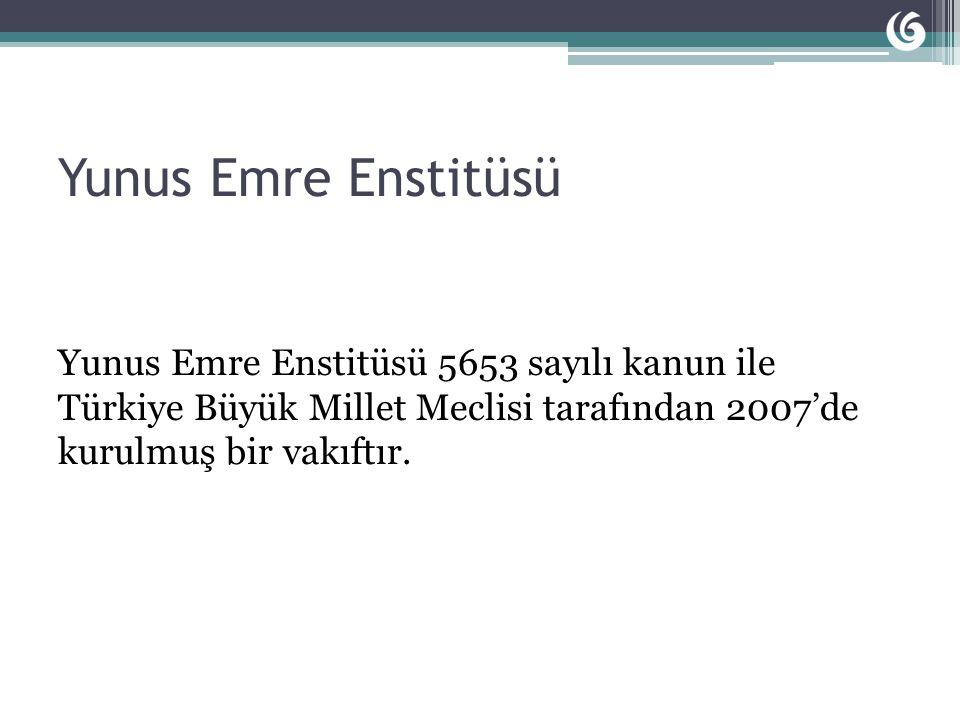 Yunus Emre Enstitüsü Yunus Emre Enstitüsü 5653 sayılı kanun ile Türkiye Büyük Millet Meclisi tarafından 2007'de kurulmuş bir vakıftır.