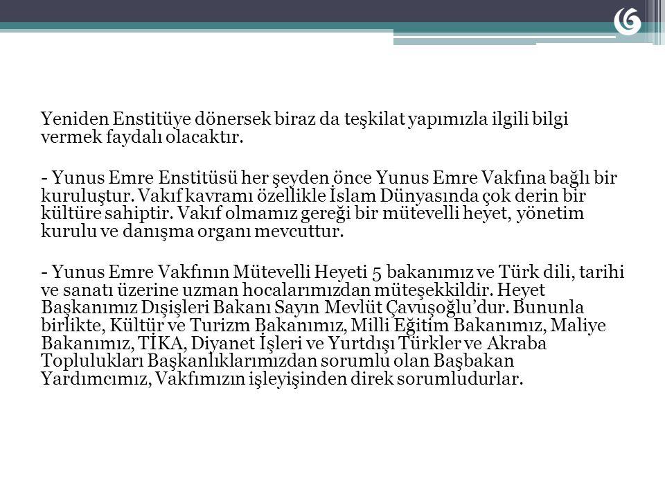 Bu çerçevede ele alındığında, Türkiye Devleti için Yunus Emre Enstitüsü büyük önemi haizdir.