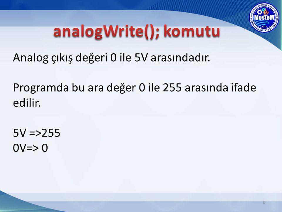 Analog çıkış değeri 0 ile 5V arasındadır. Programda bu ara değer 0 ile 255 arasında ifade edilir. 5V =>255 0V=> 0 6
