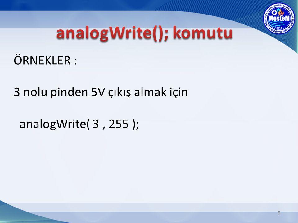 ÖRNEKLER : 3 nolu pinden 5V çıkış almak için analogWrite( 3, 255 ); 8