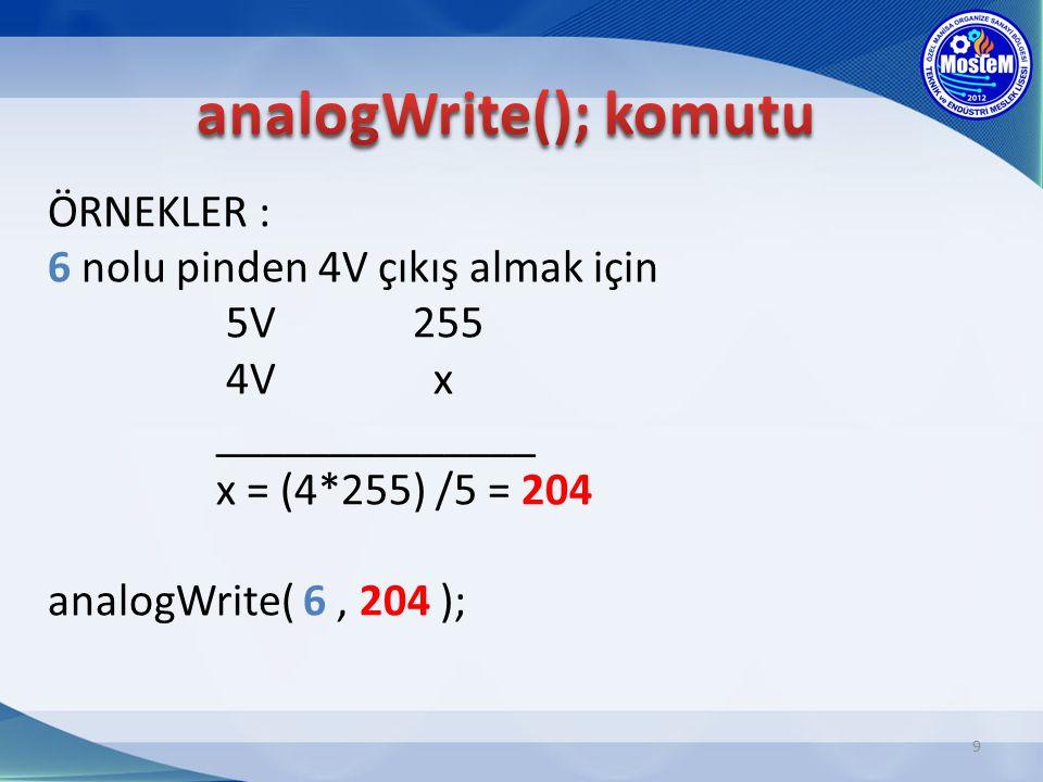 ÖRNEKLER : 6 nolu pinden 4V çıkış almak için 5V 255 4V x ______________ x = (4*255) /5 = 204 analogWrite( 6, 204 ); 9