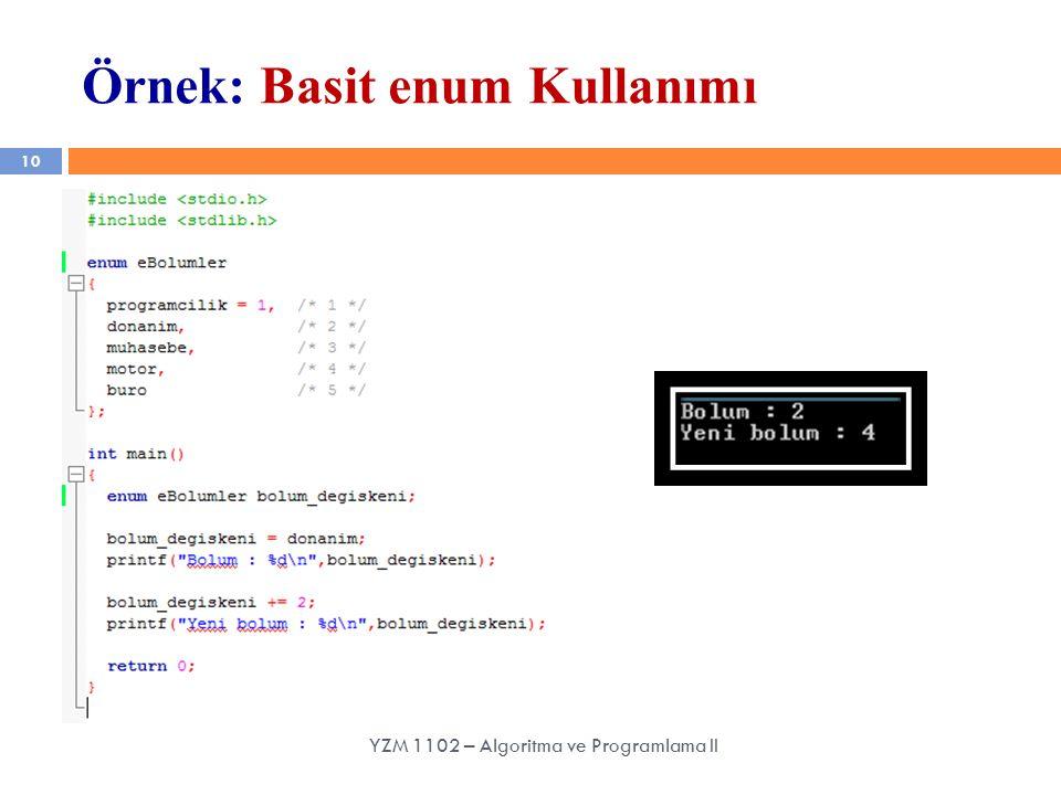 10 Örnek: Basit enum Kullanımı YZM 1102 – Algoritma ve Programlama II