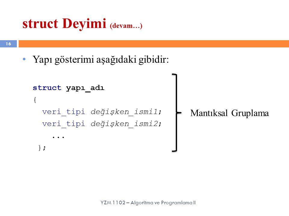 16 struct Deyimi (devam…) YZM 1102 – Algoritma ve Programlama II Yapı gösterimi aşağıdaki gibidir: struct yapı_adı { veri_tipi değişken_ismi1; veri_tipi değişken_ismi2;...