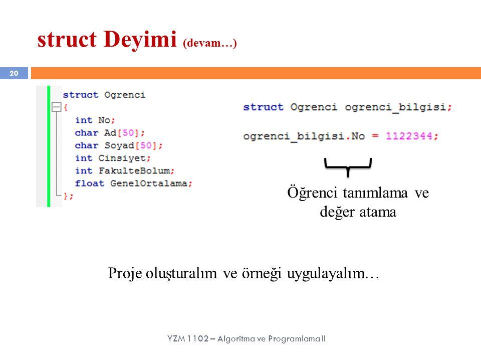 20 struct Deyimi (devam…) YZM 1102 – Algoritma ve Programlama II Öğrenci tanımlama ve değer atama Proje oluşturalım ve örneği uygulayalım…