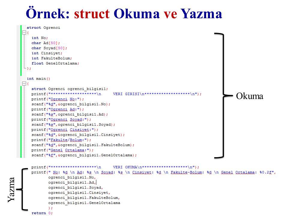 YZM 1102 – Algoritma ve Programlama II Örnek: struct Okuma ve Yazma Okuma Yazma