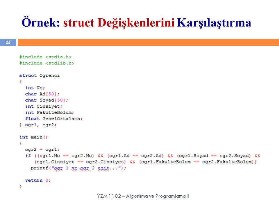 25 Örnek: struct Değişkenlerini Karşılaştırma YZM 1102 – Algoritma ve Programlama II