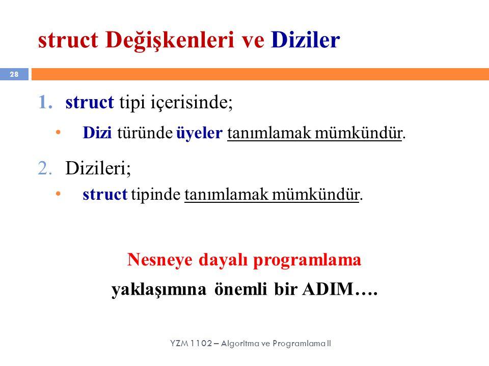 28 struct Değişkenleri ve Diziler YZM 1102 – Algoritma ve Programlama II 1.struct tipi içerisinde; Dizi türünde üyeler tanımlamak mümkündür.
