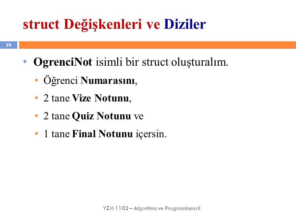 29 struct Değişkenleri ve Diziler YZM 1102 – Algoritma ve Programlama II OgrenciNot isimli bir struct oluşturalım.