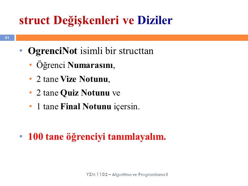 31 struct Değişkenleri ve Diziler YZM 1102 – Algoritma ve Programlama II OgrenciNot isimli bir structtan Öğrenci Numarasını, 2 tane Vize Notunu, 2 tane Quiz Notunu ve 1 tane Final Notunu içersin.