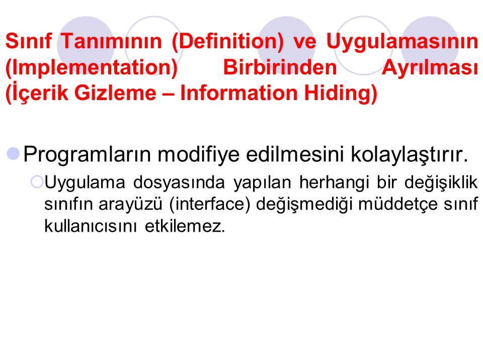 Sınıf Tanımının (Definition) ve Uygulamasının (Implementation) Birbirinden Ayrılması (İçerik Gizleme – Information Hiding) Programların modifiye edilm