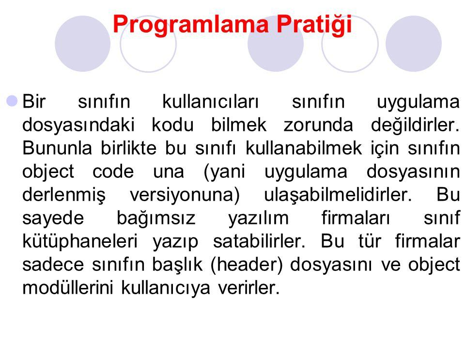 Programlama Pratiği Bir sınıfın kullanıcıları sınıfın uygulama dosyasındaki kodu bilmek zorunda değildirler. Bununla birlikte bu sınıfı kullanabilmek