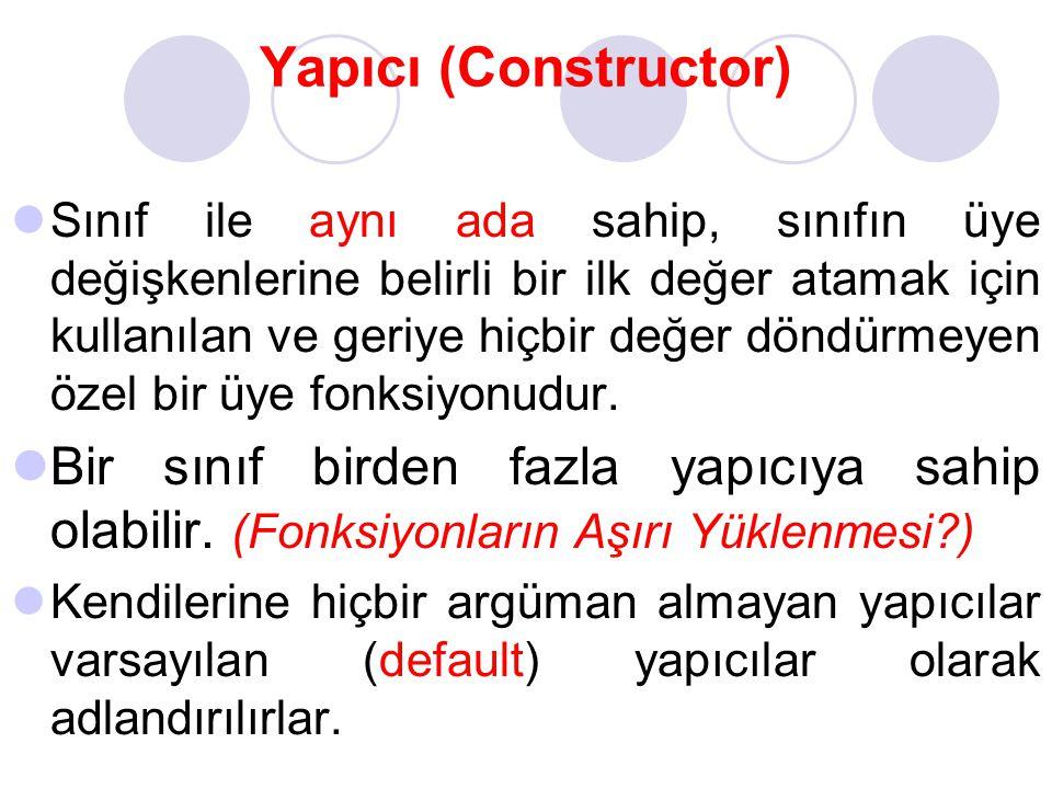 Yapıcı (Constructor) Sınıf ile aynı ada sahip, sınıfın üye değişkenlerine belirli bir ilk değer atamak için kullanılan ve geriye hiçbir değer döndürme