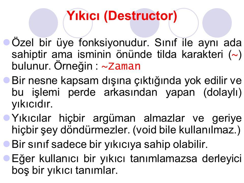 Yıkıcı (Destructor) Özel bir üye fonksiyonudur. Sınıf ile aynı ada sahiptir ama isminin önünde tilda karakteri ( ~ ) bulunur. Örneğin : ~Zaman Bir nes