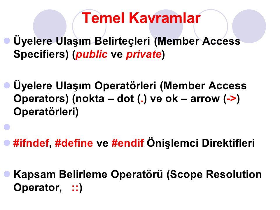 Temel Kavramlar Üyelere Ulaşım Belirteçleri (Member Access Specifiers) (public ve private) Üyelere Ulaşım Operatörleri (Member Access Operators) (nokt