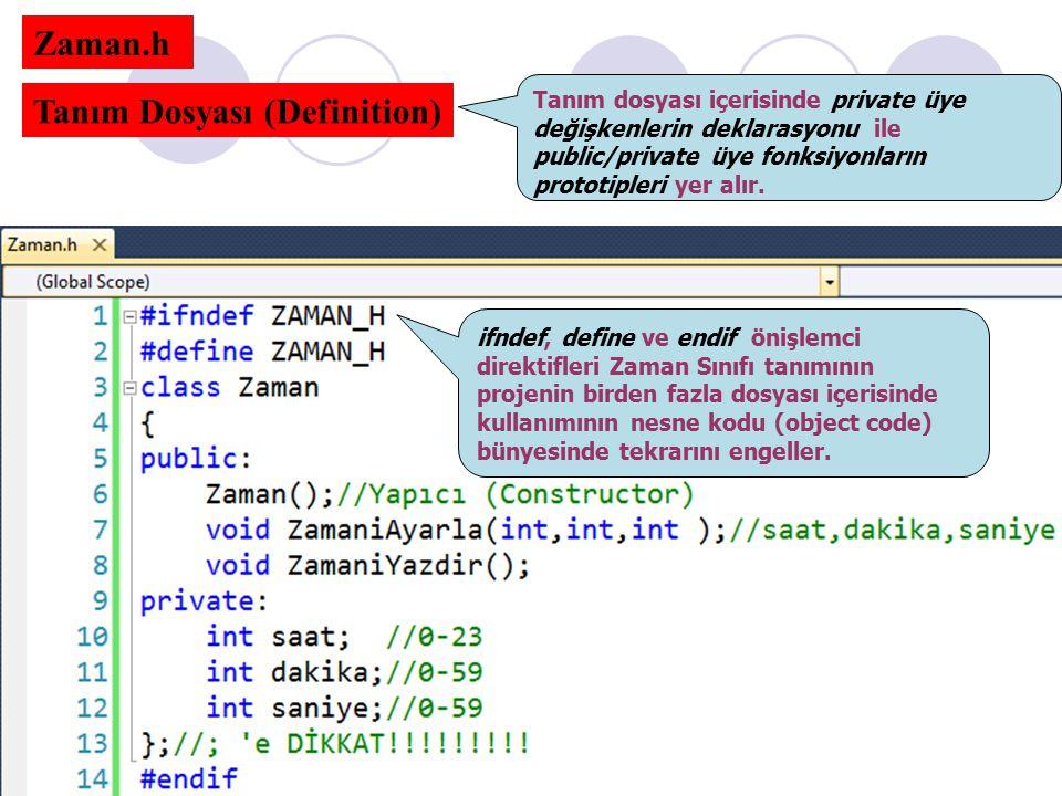 Zaman.h Tanım Dosyası (Definition) Tanım dosyası içerisinde private üye değişkenlerin deklarasyonu ile public/private üye fonksiyonların prototipleri