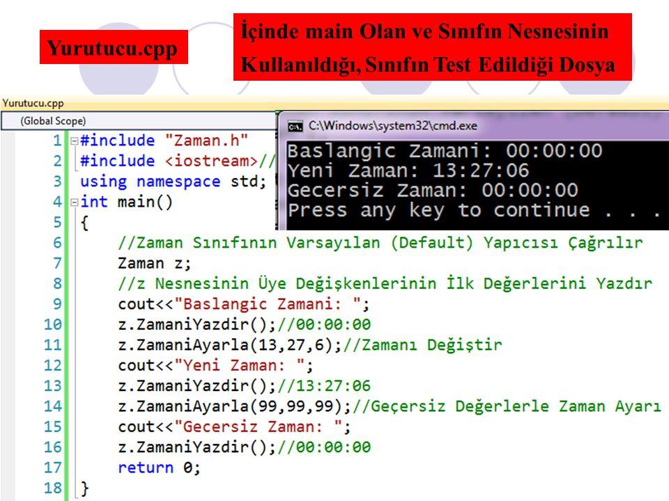 Yurutucu.cpp İçinde main Olan ve Sınıfın Nesnesinin Kullanıldığı, Sınıfın Test Edildiği Dosya