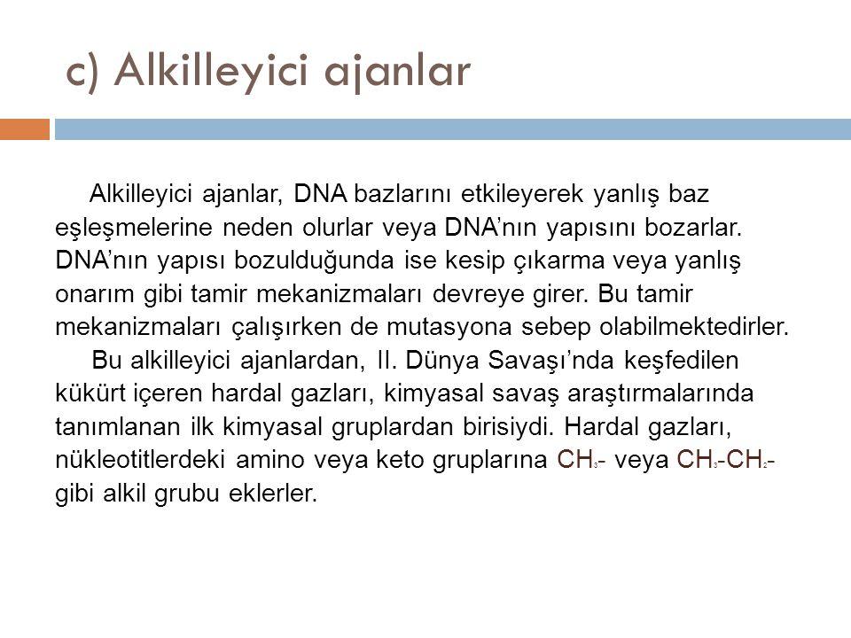 c) Alkilleyici ajanlar Alkilleyici ajanlar, DNA bazlarını etkileyerek yanlış baz eşleşmelerine neden olurlar veya DNA'nın yapısını bozarlar. DNA'nın y