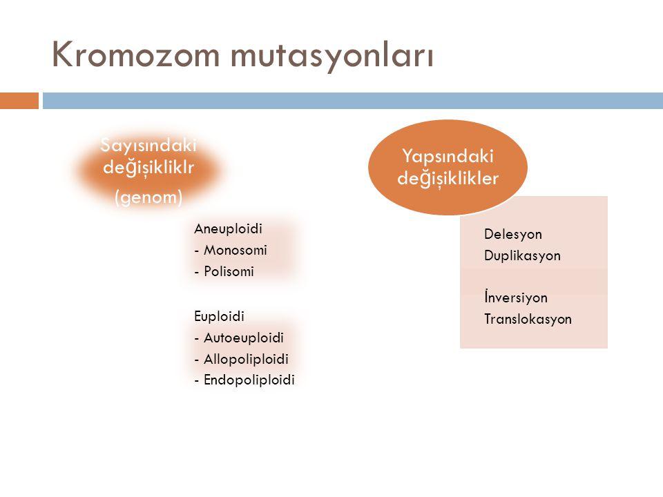 Kromozom mutasyonları Aneuploidi - Monosomi - Polisomi Euploidi - Autoeuploidi - Allopoliploidi - Endopoliploidi Sayısındaki değişikliklr (genom) Dele