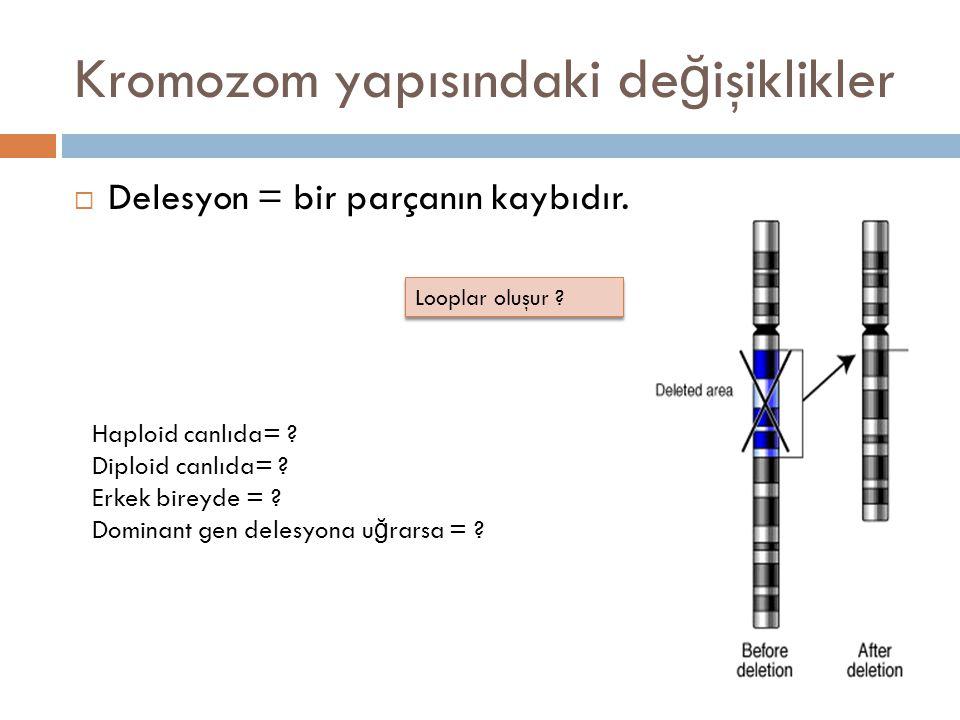 Kromozom yapısındaki de ğ işiklikler  Delesyon = bir parçanın kaybıdır. Haploid canlıda= ? Diploid canlıda= ? Erkek bireyde = ? Dominant gen delesyon