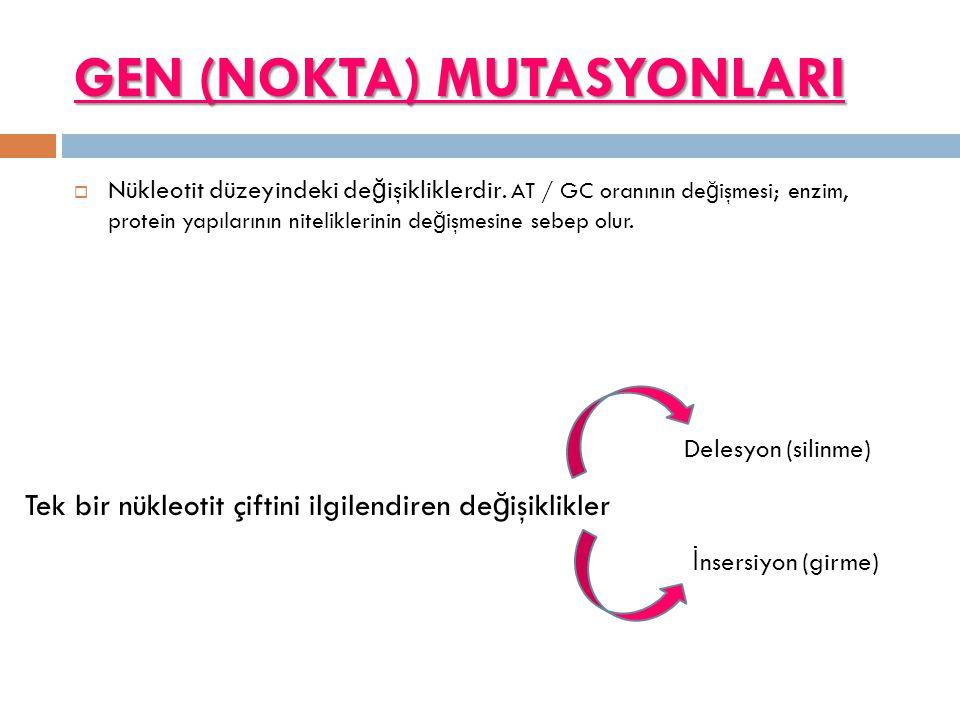 GEN (NOKTA) MUTASYONLARI  Nükleotit düzeyindeki de ğ işikliklerdir. AT / GC oranının de ğ işmesi; enzim, protein yapılarının niteliklerinin de ğ işme
