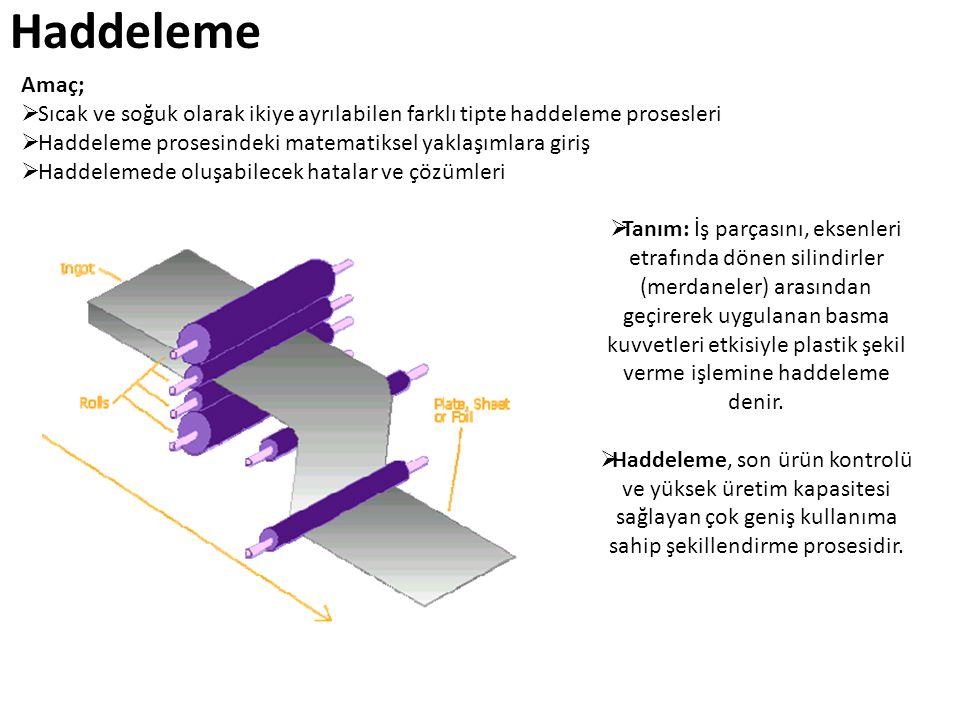 Haddeleme  Tanım: İş parçasını, eksenleri etrafında dönen silindirler (merdaneler) arasından geçirerek uygulanan basma kuvvetleri etkisiyle plastik ş