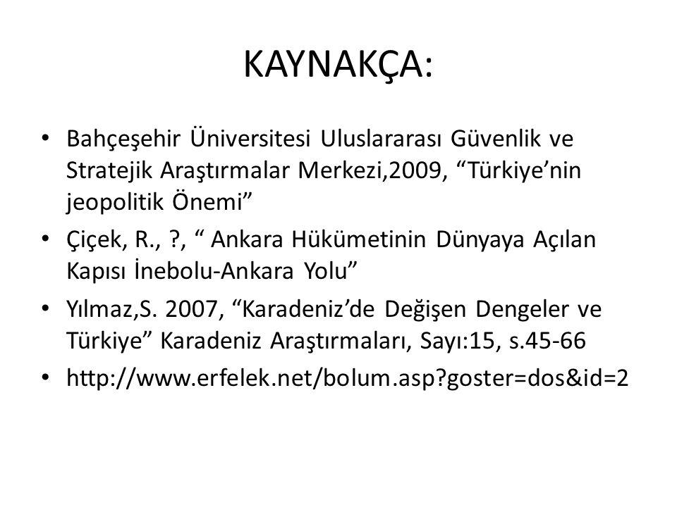 """KAYNAKÇA: Bahçeşehir Üniversitesi Uluslararası Güvenlik ve Stratejik Araştırmalar Merkezi,2009, """"Türkiye'nin jeopolitik Önemi"""" Çiçek, R., ?, """" Ankara"""