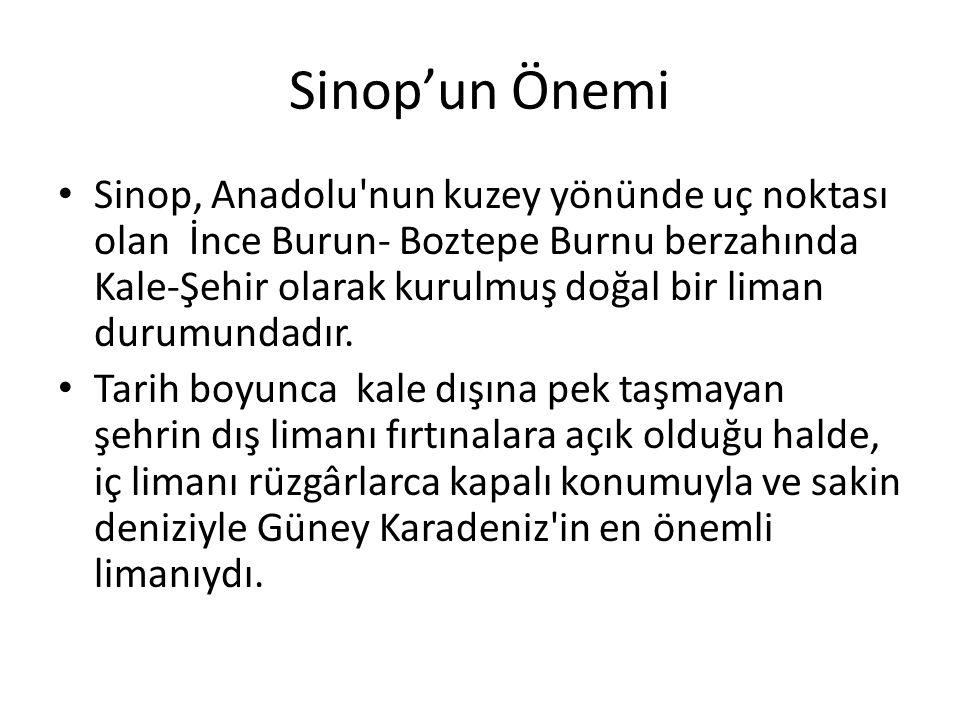 Sinop'un Önemi Sinop, Anadolu'nun kuzey yönünde uç noktası olan İnce Burun- Boztepe Burnu berzahında Kale-Şehir olarak kurulmuş doğal bir liman durumu
