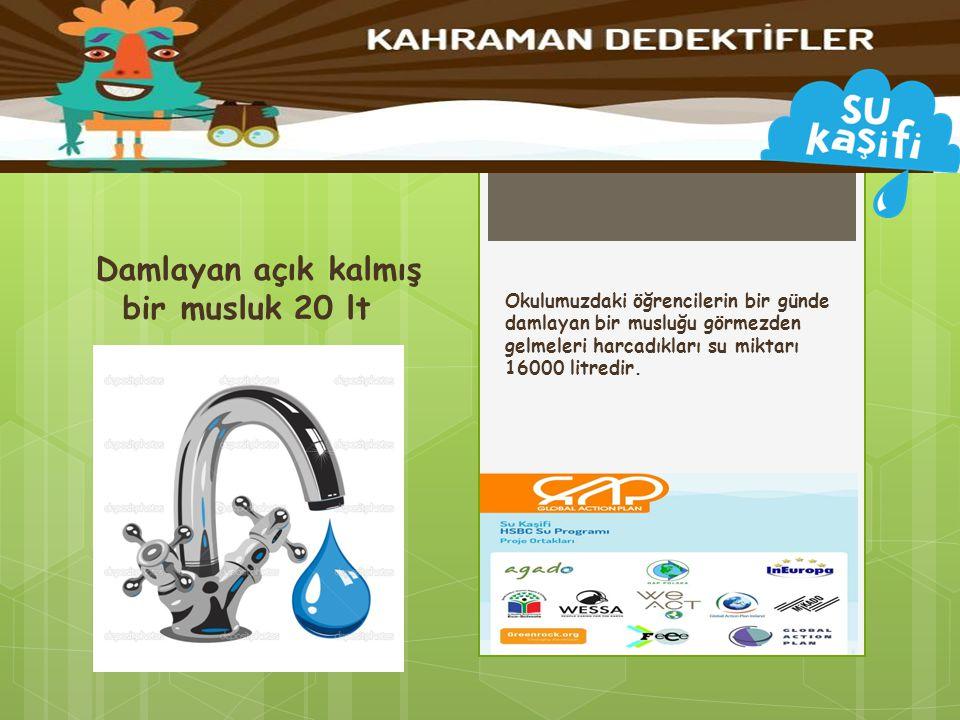 Okulumuzdaki öğrencilerin bir günde damlayan bir musluğu görmezden gelmeleri harcadıkları su miktarı 16000 litredir. Damlayan açık kalmış bir musluk 2
