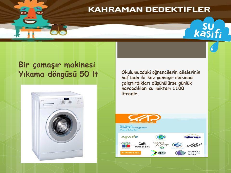 Okulumuzdaki öğrencilerin ailelerinin haftada iki kez çamaşır makinesi çalıştırdıkları düşünülürse günlük harcadıkları su miktarı 1100 litredir. Bir ç