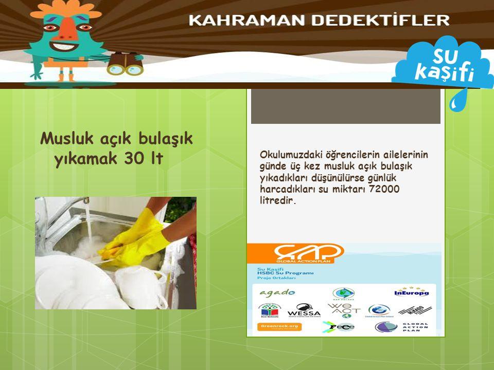 Okulumuzdaki öğrencilerin ailelerinin günde üç kez musluk açık bulaşık yıkadıkları düşünülürse günlük harcadıkları su miktarı 72000 litredir. Musluk a