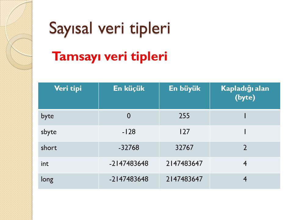 Sayısal veri tipleri Ondalıklı sayı veri tipleri Veri tipiEn küçükEn büyük Kapladı ğ ı alan (byte) Duyarlılık (hane) float 3,4.10 -38 3,4.10 38 4 77 double 1,7.10 -308 1,7.10 308 8  15