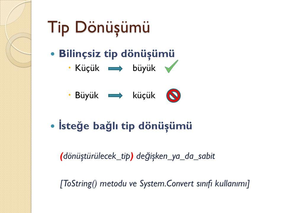 Tip Dönüşümü TipDönüşebilece ğ i tipler sbyteshort, int, float, long, double, decimal byteshort, ushort, int, unit,long, ulong,float,double,decimal shortint,long,float,double,decimal ushortint,unit,long,ulong,float,double,decimal intlong,float,double,decimal unitlong,ulong,float,double,decimal long,ulongfloat,double,decimal charushort,int,unit,long,ulong,float,double,decimal floatdouble