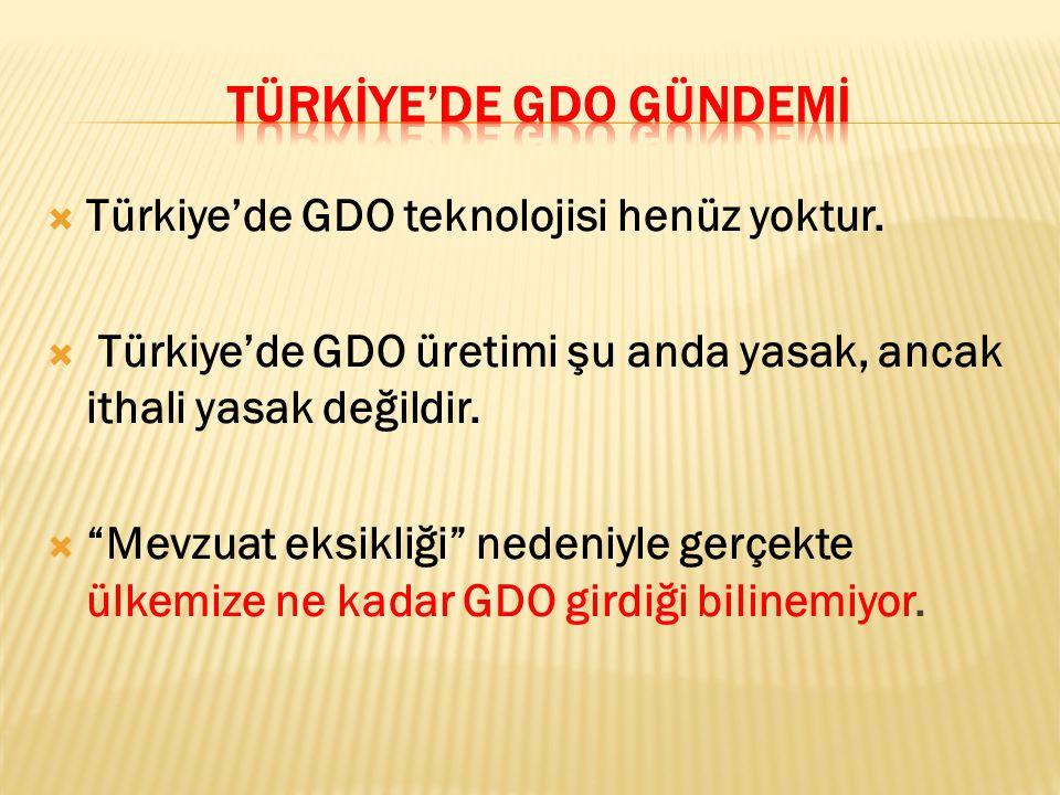 """ Türkiye'de GDO teknolojisi henüz yoktur.  Türkiye'de GDO üretimi şu anda yasak, ancak ithali yasak değildir.  """"Mevzuat eksikliği"""" nedeniyle gerçek"""