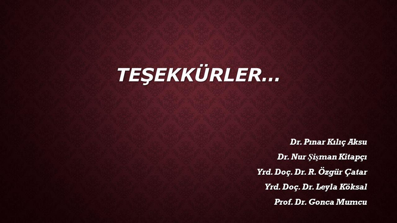 TEŞEKKÜRLER… Dr. Pınar Kılıç Aksu Dr. Nur Şişman Kitapçı Yrd. Doç. Dr. R. Özgür Çatar Yrd. Doç. Dr. Leyla Köksal Prof. Dr. Gonca Mumcu