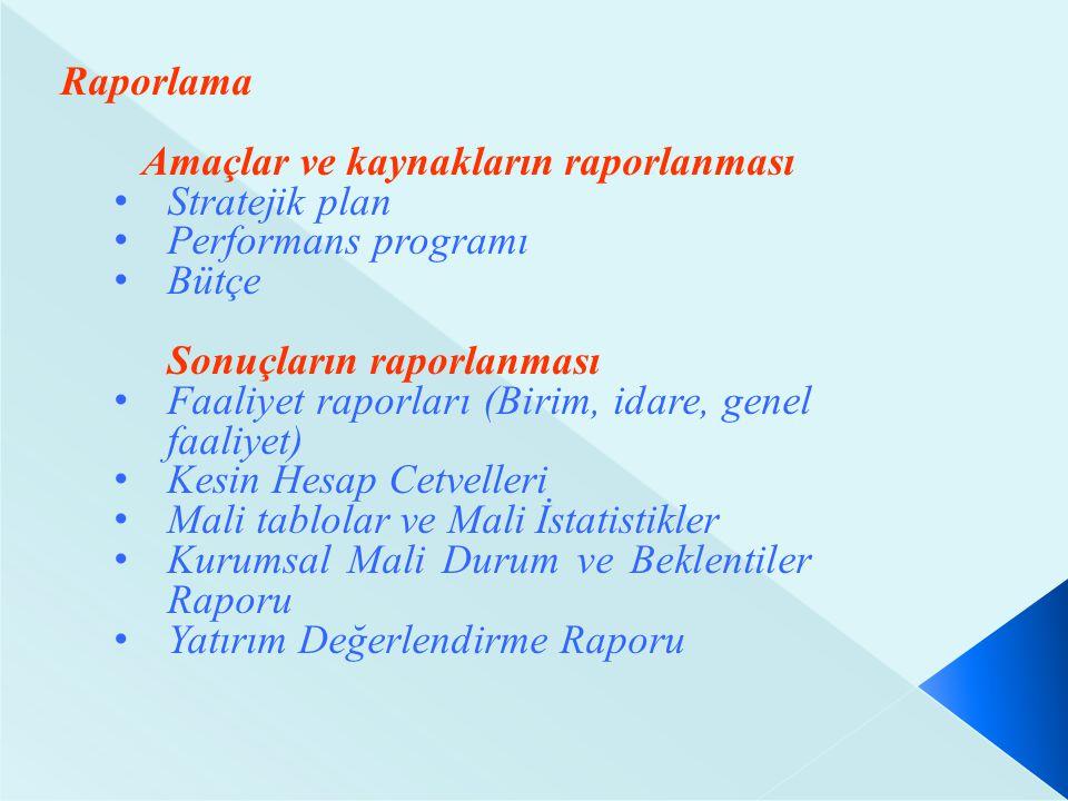 Raporlama Amaçlar ve kaynakların raporlanması Stratejik plan Performans programı Bütçe Sonuçların raporlanması Faaliyet raporları (Birim, idare, genel