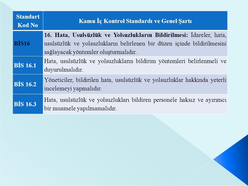 Standart Kod No Kamu İç Kontrol Standardı ve Genel Şartı BİS16 16. Hata, Usulsüzlük ve Yolsuzlukların Bildirilmesi: İdareler, hata, usulsüzlük ve yols