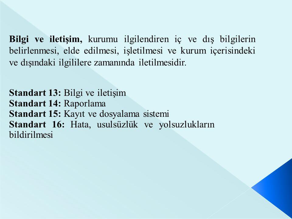 Standart 13: Bilgi ve iletişim Standart 14: Raporlama Standart 15: Kayıt ve dosyalama sistemi Standart 16: Hata, usulsüzlük ve yolsuzlukların bildiril
