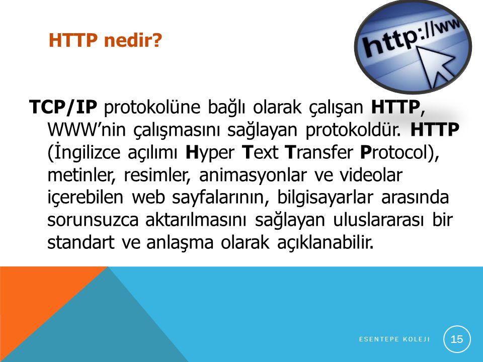 HTTP nedir.TCP/IP protokolüne bağlı olarak çalışan HTTP, WWW'nin çalışmasını sağlayan protokoldür.