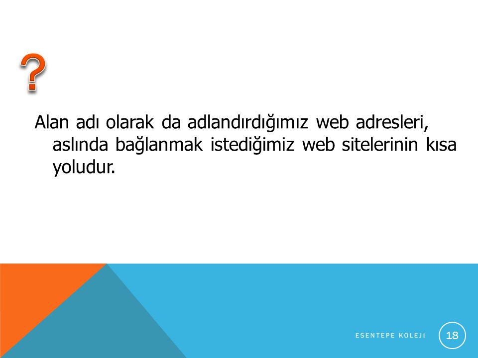 Alan adı olarak da adlandırdığımız web adresleri, aslında bağlanmak istediğimiz web sitelerinin kısa yoludur.