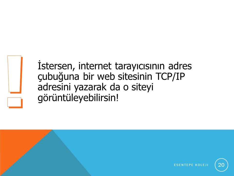 İstersen, internet tarayıcısının adres çubuğuna bir web sitesinin TCP/IP adresini yazarak da o siteyi görüntüleyebilirsin.
