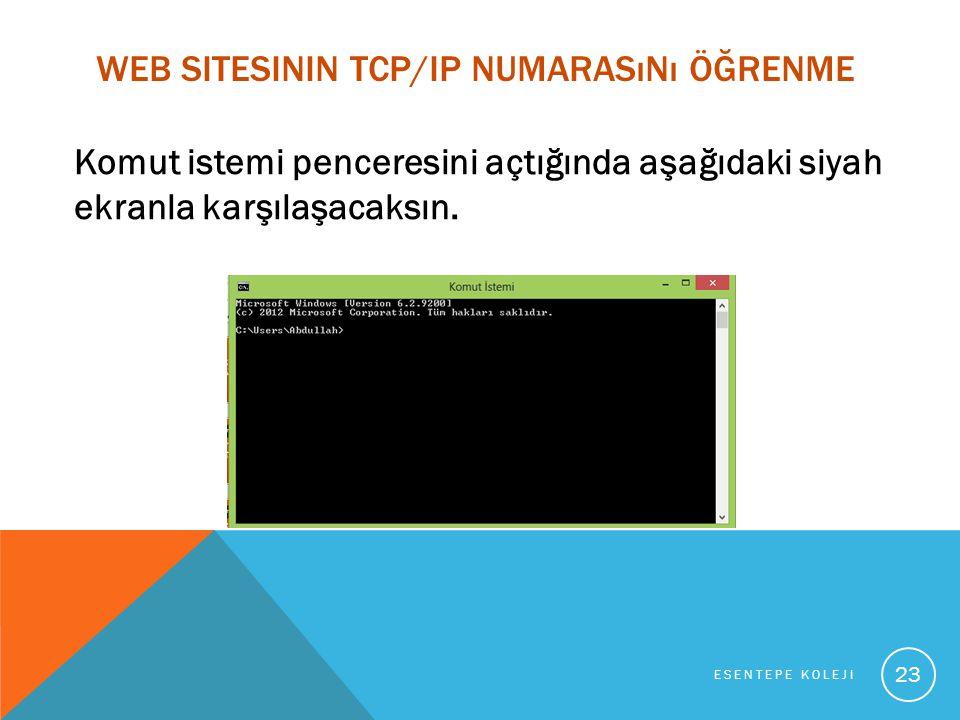 WEB SITESININ TCP/IP NUMARASıNı ÖĞRENME Komut istemi penceresini açtığında aşağıdaki siyah ekranla karşılaşacaksın.