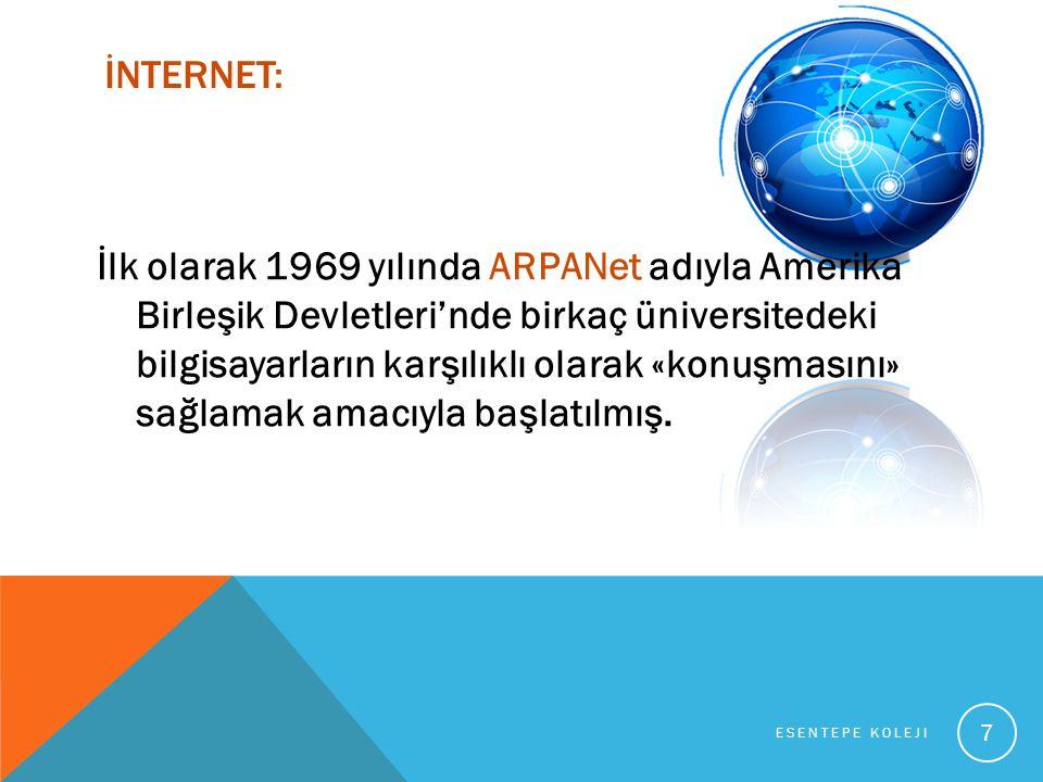İNTERNET: İlk olarak 1969 yılında ARPANet adıyla Amerika Birleşik Devletleri'nde birkaç üniversitedeki bilgisayarların karşılıklı olarak «konuşmasını» sağlamak amacıyla başlatılmış.