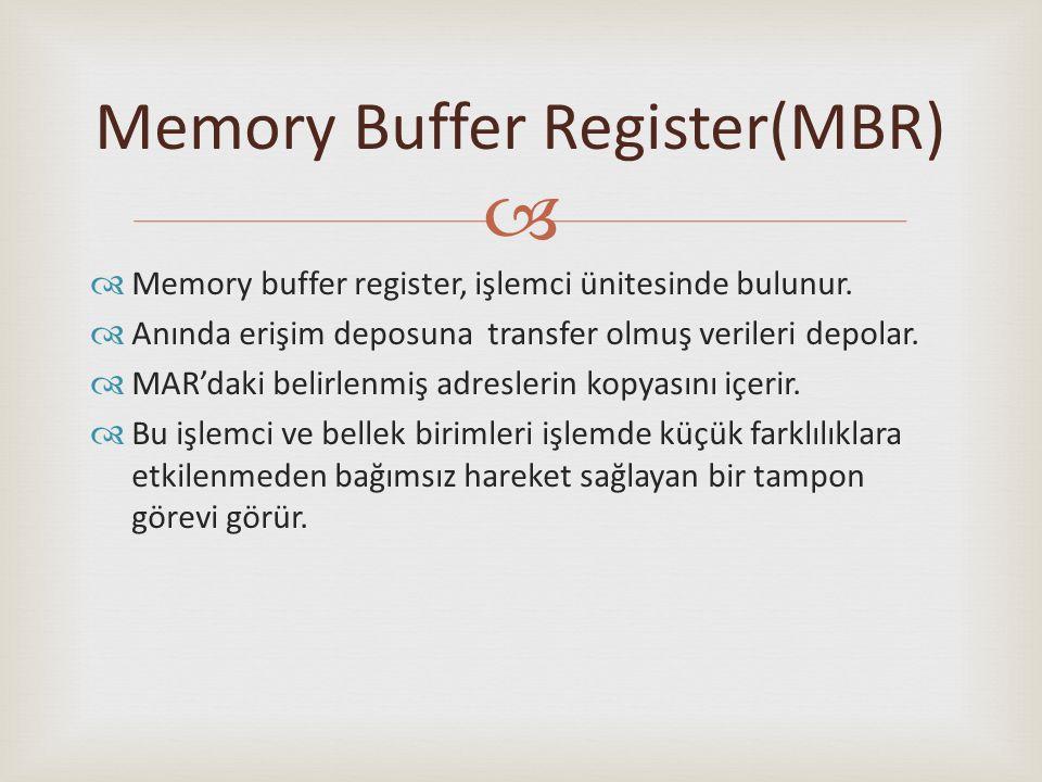   Memory buffer register, işlemci ünitesinde bulunur.  Anında erişim deposuna transfer olmuş verileri depolar.  MAR'daki belirlenmiş adreslerin ko
