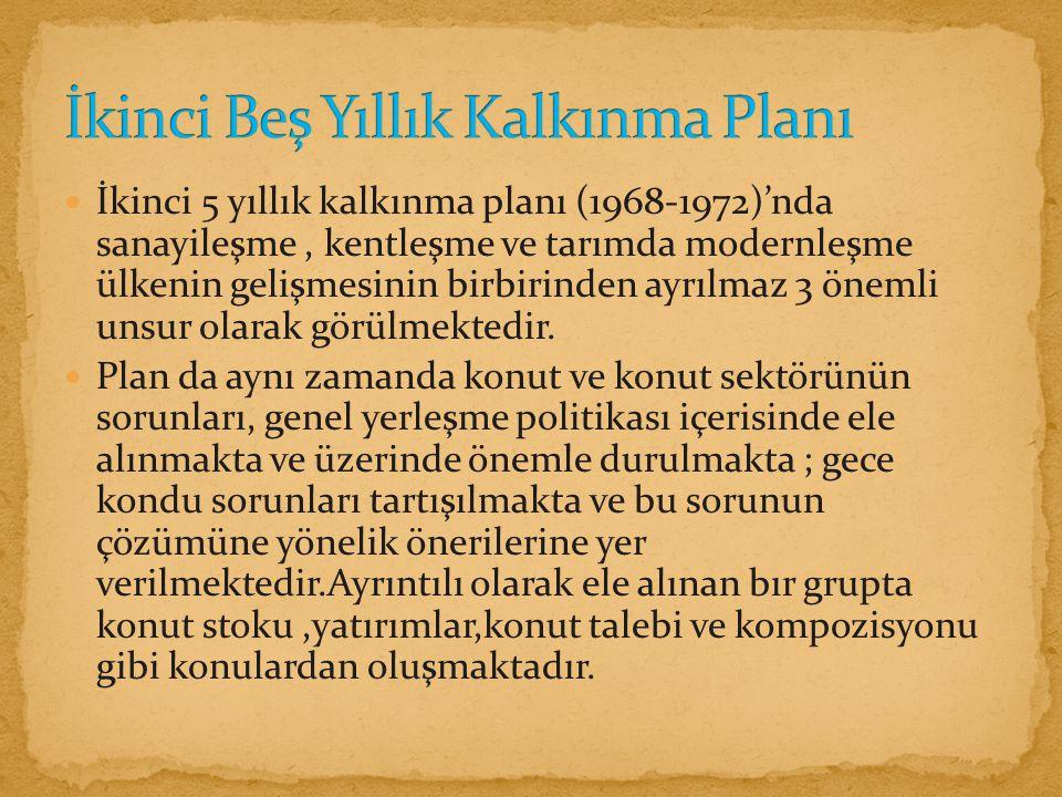 İkinci 5 yıllık kalkınma planı (1968-1972)'nda sanayileşme, kentleşme ve tarımda modernleşme ülkenin gelişmesinin birbirinden ayrılmaz 3 önemli unsur olarak görülmektedir.