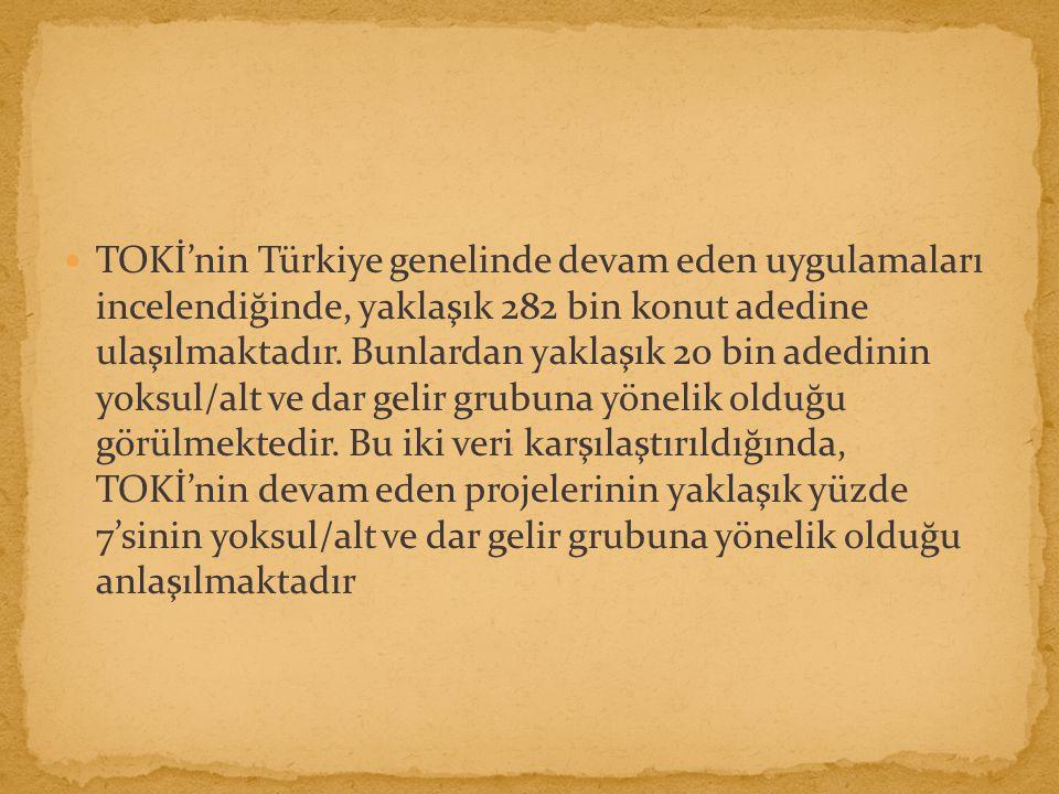 TOKİ'nin Türkiye genelinde devam eden uygulamaları incelendiğinde, yaklaşık 282 bin konut adedine ulaşılmaktadır.