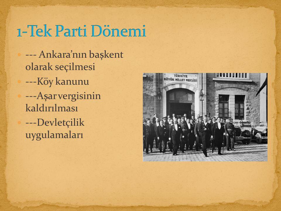 --- Ankara'nın başkent olarak seçilmesi ---Köy kanunu ---Aşar vergisinin kaldırılması ---Devletçilik uygulamaları